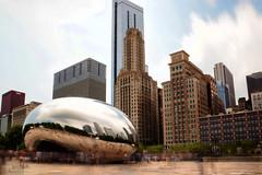 The Bean (DILLEmma Photography) Tags: bean chicago millenium park cloud gate cloudgate skyline sky exposure kapoor illinois blur reflection mirror sculpture shape steel