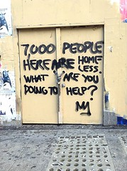 (JerimiahRico) Tags: words signs symbols future past present sanfrancisco living gap wages rich poor richpoor disparities disappear people truth citylife homeless sutterstreet sutter vacancy abandonment sad depressing glory betterdays nothing something message