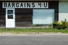 BARGAINS 4-U in Westby, WI 8/15/2015 2:09PM (Craig Walkowicz) Tags: bargains4u sign architecture building aged faded weathered siding wood window door westby wisconsin ccw