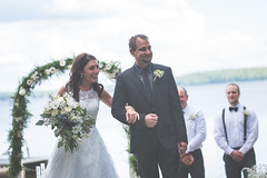 Mr. & Mrs. Yost (trevorpopovits) Tags: wedding portrait flower aisle day mrs mr lake sunny summer suit dress tie sky clouds beautiful couple marriage love happy joy gaze smile glee bouquet special