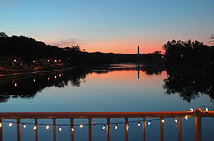 Evening from the Fox River (Mark Herrera) Tags: foxriver illinoisrivers foxriverfootbridge sunsets summersunsets summer rivers waterreflections reflections evening eastdundee illinois