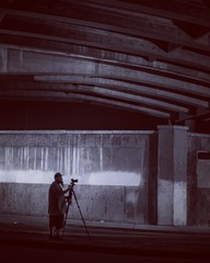 Dreamscape (Blockshadows) Tags: black muted sketchy colorado denver underpass bridge 50mm12 50mm canon nightscape night portrait city blackandwhite bw monochrome