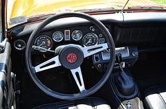Steering Wheel (pjpink) Tags: mg midget vintage vehicle automobile convertible fun sporty orange 50yrdrm car southcentral chasecity virginia june 2016 summer pjpink
