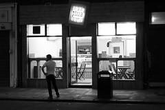 pizza after dark (byronv2) Tags: edinburgh edimbourg edinburghbynight night nuit nacht blackandwhite blackwhite bw monochrome peoplewatching candid street pizza pizzeria food diner gorgie gorgieroad realpizzafactory