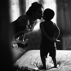 The Mini Kiss of Death (N A Y E E M) Tags: shezin umar kalam mother son family yesterday bed bedroom afternoon knife kiss home rabiarahmanlane chittagong bangladesh sooc raw unedited untouched candid moment availablelight indoors square cropped lulu