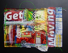 Get Moving! (opal c) Tags: collage paint acrylic paper magazine