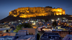 City on a Hill (inthestride) Tags: mehrangarh fort india jodhpur rajasthan cityscape night lights dark sunset dusk landscape canon sigma 40d travel flscher inthestride evening asia