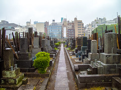 Japanese urban cemetery in Ikebukuro (isobrown) Tags: cemetery tokyo ikebukuro japan japon rain rainy day extrieur graves grave alley urban city architecture