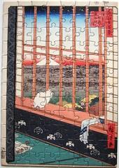 Asakusas Reisfelder und Torinomachi-Fest (Utagawa Hiroshige) (Leonisha) Tags: puzzle jigsawpuzzle cat chat katze