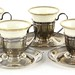 2056. Set of (8) Sterling Demitasse Cups & Saucers