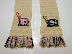 Kirby and Meta Knight: Honourable Combat (doctormoo) Tags: scarf kirby handmade crafts crochet nintendo gaming gamer videogame nes metaknight