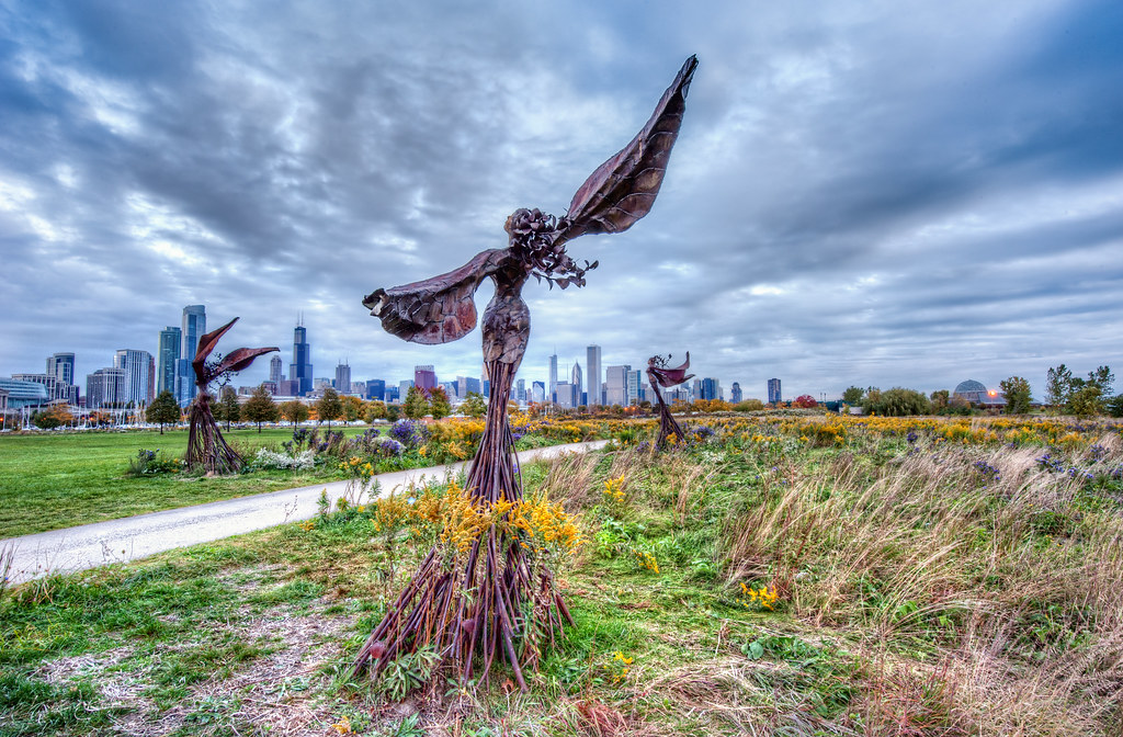 A statue on Northerly Island