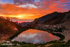 Blaze of Glory (landESCAPEphotography | jeff lewis) Tags: california ca travel sunset lake mountains reflection jeff nature water clouds sunrise canon landscape photography nationalpark unitedstates hiking scenic lewis canyon sierra trail backpacking monarch 5d canon5d sierranevada sequoia landescape alpenglow highsierra canoneos5d stunningskies landescapephotography