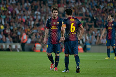 Lionel Messi and Xavi Hernandez of FC Barcelona line up a free kick during the La Liga match between FC Barcelona vs Real Madrid at Camp Nou 7/10/12 (PhotoAS) Tags: photography photo football spain soccer picture espana catalunya futbol xavi campnou fcbarcelona gettyimages realmadrid fcb laliga blaugrana elclasico photoas spanishleague lionelmessi losblancos ligabbva xavihernandez barcareal granderbi andrewsurma