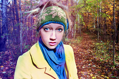 autumn wonderland (colorfulclare) Tags: blue autumn winter red cold color cute fall nature girl beauty up yellow scarf photography photo eyes woods colorful pretty clare walk lips adventure explore enjoy hippie breeze wonderland winds bun headband bundled peacoat