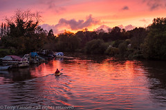 Kayak in the sunset (Terry Yarrow) Tags: uk autumn light sunset england canon landscape boats evening kayak dorset contrejour wareham possibles frome eos5d thedorsetrambler
