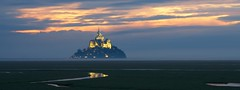 Out of the Mist (DPGold Photos) Tags: travel sunset sun france reflection landscape europe normandy montstmichel lemontstmichel dpgoldphotos