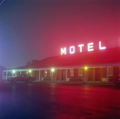 (Josh Sinn) Tags: longexposure blue red color 120 6x6 film sign fog mediumformat lights md neon kodak parking tripod foggy lot maryland motel arbutus 100 yashicamat124g ektar cablerelease beltwaymotel joshsinn joshuasinn