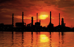 Landscape of river and oil refinery factory (anekphoto) Tags: light sea chimney sun plant reflection industry nature water ecology price modern river thailand coast canal energy industrial factory technology diesel bangkok smoke greenpeace bank automotive stack gas pollution transportation oil production environment petrol protection refinery economy automobiles hidalgo supply crude petroleum manufacture protecting manufacturing canel