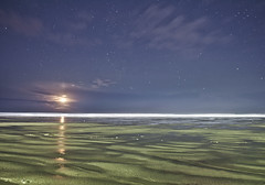 Moonset on the Beach (benalesh1985) Tags: longexposure sky moon seascape beach night oregon stars landscape sand nightscape newport astrophotography moonset waterscape nyebeach