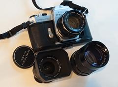 The Classic Three-Lens Kit (fotostevia) Tags: pentaxspotmaticii supertakumar5518 pentaxk10d smctakumar2835 pentaxm5017 autovivitar13528
