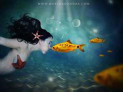 Deep inside (Marina Gondra) Tags: light luz girl marina nude de star mar sand underwater peces bubbles arena fishes estrella sirena fotografo barakaldo burbujas submarina gondra