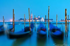 Dancing Gondolas - Part I (Tommaso Renzi) Tags: blue san hour marco gondola maggiore venezia giorgio gondolas