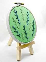 Feather Stitch Green, Blue, and Grey Embroidery Hoop Art. Hand Embroidered. (Hey Paul Studios) Tags: green wall grey embroidery cubicleart etsy minimalist navyblue deskart needlecraft greyframe handembroidery bedroomart hoopart featherstitch kcetsyteam