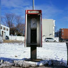 Dudley Square, Roxbury, MA. (billbostonmass) Tags: winter urban snow tlr film boston analog square ma graffiti fuji phone slide velvia pay va epson dudley 35 nips e6 xenar roxbury rolleicord 100f 75mm fugue v500