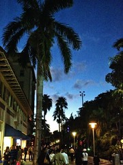 8-Evening Stroll-001 (anthonysphotoshop) Tags: blue light sky people building retail dusk crowd palmtree paths miamibeach lincolnroadmall mobilephotography