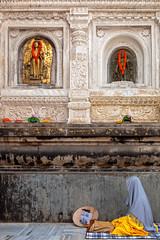 Meditation, Bodhgaya (Marji Lang) Tags: voyage travel india colors composition asian temple asia image buddha buddhist indian faith religion praying documentary buddhism nun bouddha holy believe devotion meditating asie meditation framing pilgrim bodhi buddhas nonne bouddhisme bihar pelerin bodhgaya mahabodhi travelphotography bodhitree bouddhiste pelerinage ef247028l indiansubcontinent travelshot mahabodhitemple  buddhistpilgrimage canoneos5dmarkii bhrat travelanddocumentaryphotography  buddhistfaith marjilang mahabodhimahaviharatemple pelerinagebouddhiste