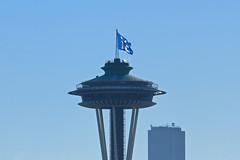 12 (Shutterbug Fotos) Tags: seattle blue sky football flag nfl spaceneedle kerrypark seahawks fans 12 columbiatower twelfthman top20blue top20bluewinningshot