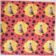 Darlek Yellow Rose on Red Black Polka (smuk - mooglees) Tags: fabric scifi movies sciencefiction drwho exterminate darlek smuk spoonflower