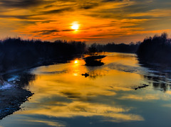 (DomiKetu) Tags: trees sunset sun reflection nature water clouds reflections river landscape landscapes nikon silhouettes romania hdr vr mures lipova innamoramento 18105mm d5100