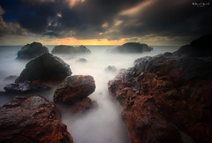 Soulful Dream (Explored) (Fakrul J) Tags: ocean camera longexposure sea sky cloud seascape beach water sunrise canon flickr shoreline 11 malaysia dreamy dslr kemasik terengganu rockyshore explored leefilter fakruljamil proglassnd