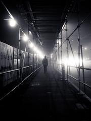 blindsided (bluechameleon) Tags: street city urban man cars fog night lights construction scaffolding streetlights citylights eastside stoplights eastvancouver bluechameleon sharonwish bluechameleonphotography vancouvervancity