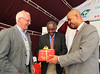 Dirk Hoekstra receives a gift for his contribution to IPMS project from Wondirad Mandefro, State Minister of Agriculture, Ethiopia