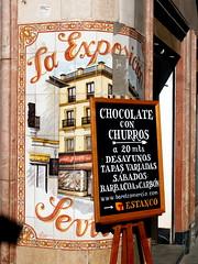 (juliachocis) Tags: espaa sevilla andaluca spain europa publicidad seville carteles churros azulejos andalusie sierpes callesierpes
