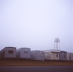 (Josh Sinn) Tags: color 120 6x6 film fog mediumformat fuji watertower foggy slide laurel provia e6 trailers route1 howardcounty 100f yashicamat124g hoco