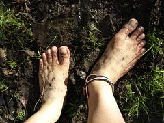 Feet of a barefooter (bfe2012) Tags: boy feet nature wet grass leaves forest foot freedom toes mud hiking indian dirty dirt swamp barefoot barefeet hiker marsh muddy marshland ankles anklets barefooted muddyfeet barefooting barefoothiking barefooter baresoles