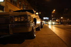On The Town (Flint Foto Factory) Tags: auto street camera city winter urban chicago classic car wheel night vintage evening illinois wire automobile gm nocturnal side parking sunday headlights cadillac chrome american intersection covers parked 1978 grille february superbowl 1977 deville kerb curb 1979 coupe fullsize generalmotors dakin 2door downsized 2013 sooc worldcars nbroadway dbody straightoutof