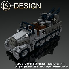 LEGO Custom WW2 SdKfz 7-1 Flak 38 0 (LA-Design2012) Tags: 1 tank lego wwii 7 ww2 vehicle instructions pdf custom xml armored flak 38 moc sdkfz bauanleitung ladesign flakvierling