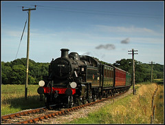 41298, Wootton (Jason 87030) Tags: ivatt steam train engine 41298 britishrail lms geirgeivatt kettle black wootin isleofwight steamrailway island august 2016 holiday ts iow coaches coachingstock smoke telegraphpoles| nice view countryside tracks day service timetable londonmidlandscottish action
