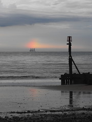 Same place, few years ago, and another unusual sight (a Ship transporting oil rig or wind farm parts at the Rainbows End/under a Mock Sun?) Mundesley Beach Sea North Sea Sky Rainbow Dog Sun Playa    (Almena14) Tags: ship rainbowsend mocksun mundesley beach sea northsea sky rainbow dogsun playa