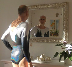 Sunny reflections in the mirror (nitram357) Tags: swimsuit swimwear swimsuits leotard leotards leotardo badpakje justaucorps maillot swimming longsleeved fashion fashionable male turnpakje leisure leotard357 indoor man sportswear use abuse fitness workout gymnastics mirror reflections