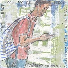 # 263 (19-09-2016) (h e r m a n) Tags: herman illustratie tekening bock oosterhout zwembad 10x10cm 3651tekenevent tegeltje drawing illustration karton carton cardboard male man telephone telefoon mobilephone mobile mobiel crickets krekels