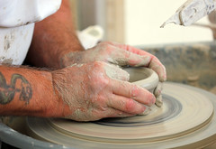 The Potter! (RiverCrouchWalker) Tags: thepotter potterswheel hands clay creating craft skill throwing rhs rhshydehall contemporarycraftdesignshow