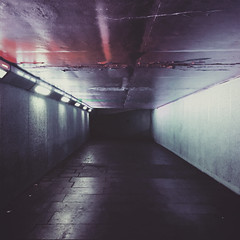 Colour Tunnel (Olly Denton) Tags: tunnel colour film cinema walkinginwelliesisnotcomfortable journalism photojournalism night evening architecture lights perspective vanishingpoint lines concrete iphone iphone6 6 vsco vscocam vscolondon ios apple mac bfi southbank waterloo london uk