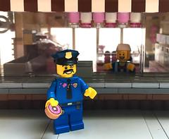 Donut Shop Lego (street.pop.barbecue) Tags: lego moc building donut doughnut donutshop creator candy city modular minifigure minifig minifigures police officer