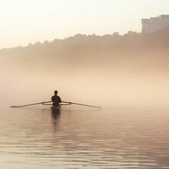 augury of autumn (weltreisender2000) Tags: single man scull rowing oars morning mist chattahoochee river roswell landing minimal atlanta